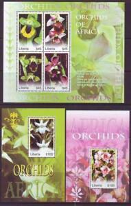LIBERIA-2008-ORCHIDS-SHEETLET-4-2-MINISHEETS-MINT-NEVERHINGED