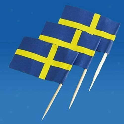 50x Schweden Flagge Picks Papier Zahnstocher Lebensmittel Kuchen-Cocktail