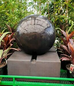 Outdoor-Garden-Patio-Water-Feature-Sphere-Round-Ball-Fountain-Charcoal-Black