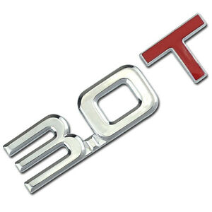 CHROME//RED METAL 5.0L ENGINE RACE MOTOR SWAP EMBLEM BADGE FOR TRUNK HOOD DOOR