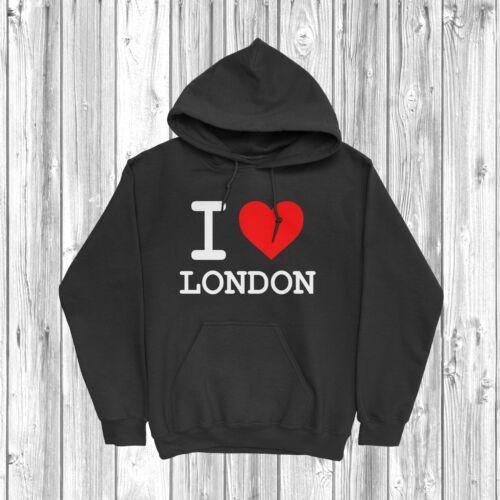 I Love London Sweat à capuche S-2XL Angleterre UK Royaume-Uni Pays cœur