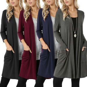 Women-039-s-Plus-Size-Cardigan-Duster-Long-Sweater-Long-Sleeve-Coat-Jacket-5XL