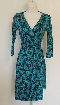 Diane von Furstenberg New Julian two Tweed Wave navy blue green 0 wrap dress DVF