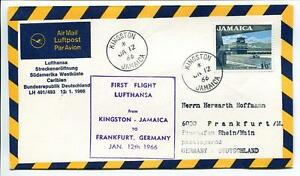 Amical Ffc 1966 Lufthansa Primo Volo Lh 491 - Kingston Jamaica Francoforte