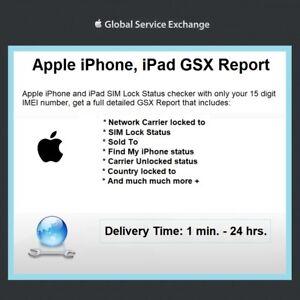 Detalles acerca de Informe oficial de Apple GSX Para Iphone Y Ipad Sim Lock  Status portador cheque Imei- mostrar título original