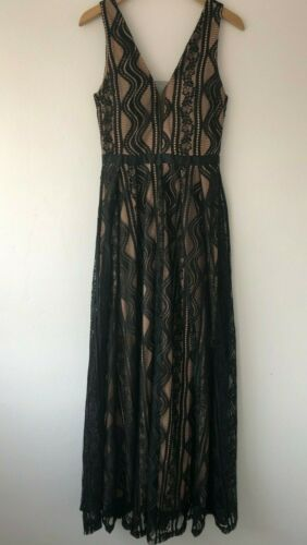 Lucy Wang Lace Plunge V Neck Evening Maxi Dress Black BNWT RRP £45 NEW SALE