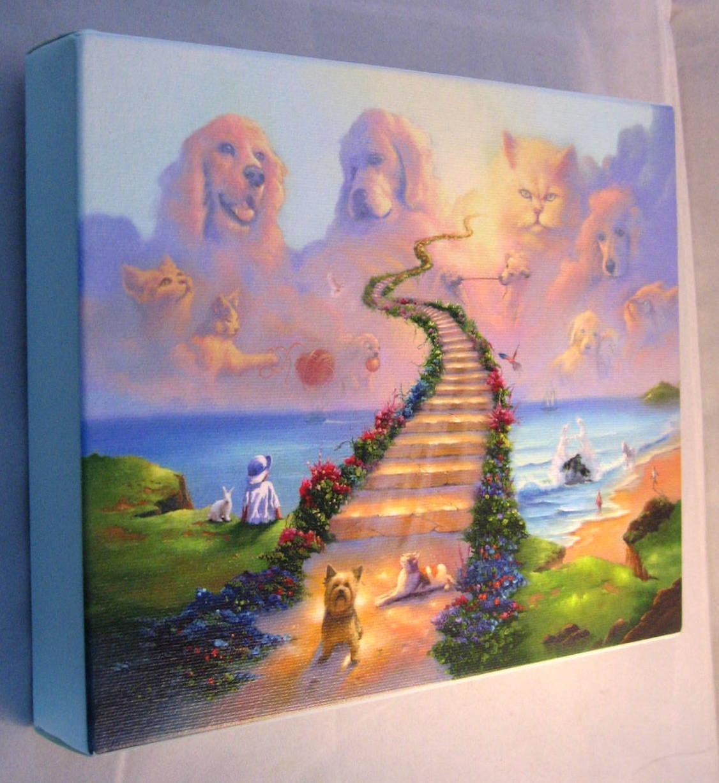 migliori prezzi e stili più freschi CANVAS Wrapped onBoard 16x20 16x20 16x20 Rainbow Bridge Stairway to Heaven Dog Cat Memorial  marche online vendita a basso costo