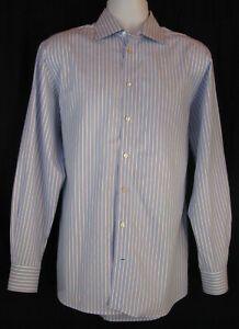 ETON-Contemporary-Fit-Blue-White-Stripe-Cotton-Dress-Shirt-Men-039-s-17