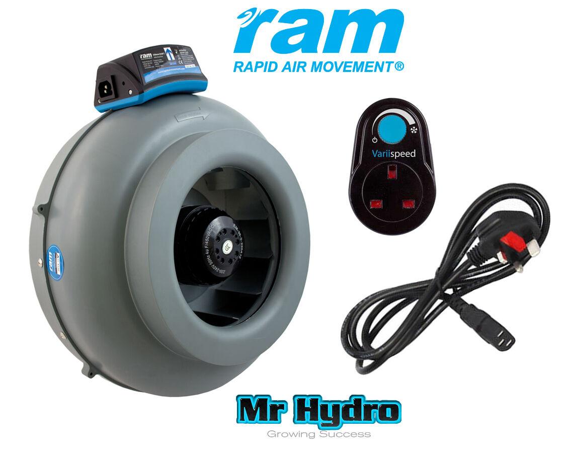Ram 4 pulgadas ventilador de entrada de extracción 100mm, movimiento de aire rápido Controlador de velocidad del ventilador &
