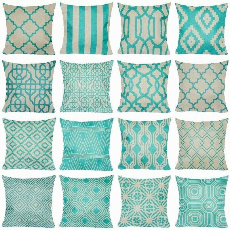 """Vintage Turquoise Linen PILLOW COVER Sofa Home Decor Bed Cushion Case 18x18/"""" USA"""