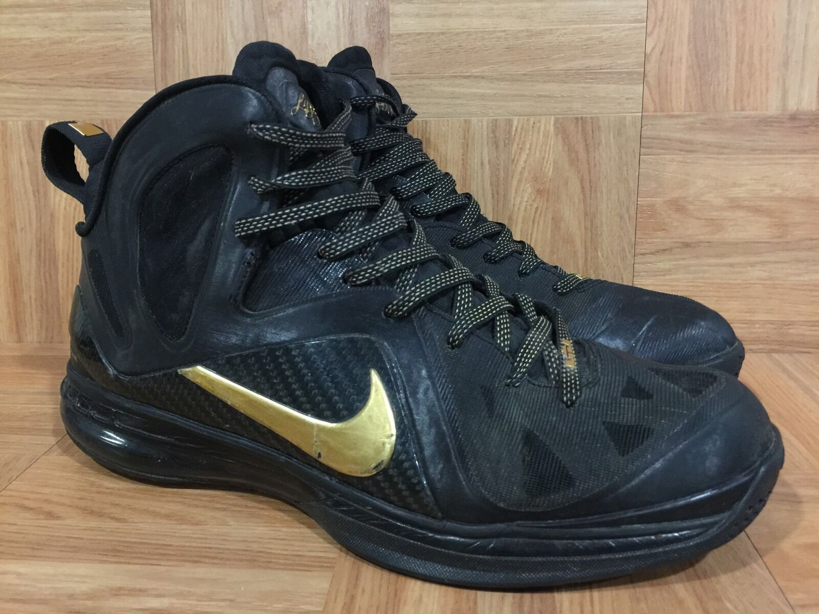 RARE  Nike LeBron PS Elite Away Black Metallic Gold Sz 11.5 516958-002 Blackout