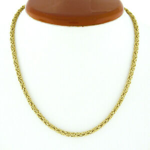 """Vintage 18K Yellow Gold 16"""" 3.4mm Byzantine Link Chain Necklace w/ Barrel Clasp"""