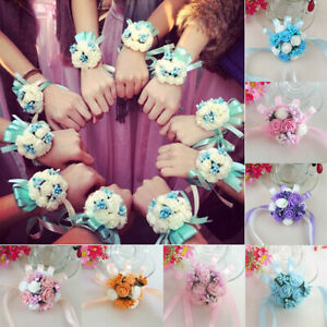 Bridesmaid-Wrist-Corsage-Bracelet-Sisters-Hand-Flower-Wedding-Party-Bouquet-Well