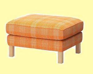 Cool Details About Ikea Karlstad New Footstool Husie Orange Off White Ottoman Cover Plaid Check Nip Creativecarmelina Interior Chair Design Creativecarmelinacom