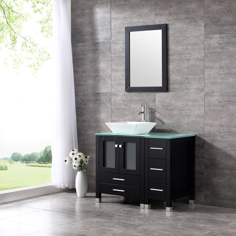 36 Modern Bathroom Vanity Cabinet Ceramic Vessel Sink Bowl Top W Mirror Set Ebay