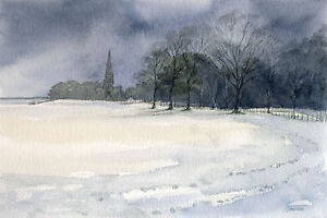 Wentworth-Church-GREETINGS-CARD-Steve-Greaves-Watercolour-Snow-Winter-Scene-Art