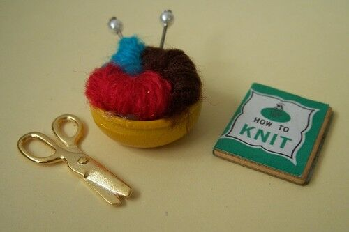 Old Style Doll House Kniting Basket w Accessories!-New!