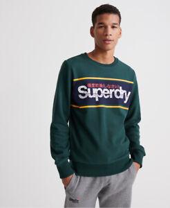 Superdry Men/'s Core Logo Stripe Pullover Hoodie Grey