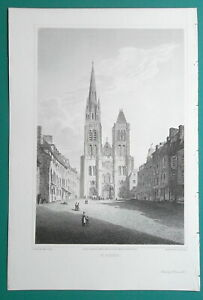 FRANCE-St-Denis-Cathedral-1821-Cpt-Batty-Antique-Print
