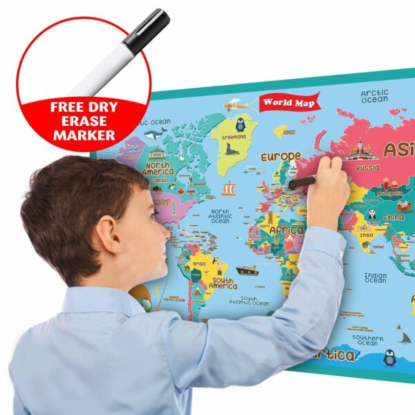 Generoso Handy Essentials Bambini Educativo Mappa Del Mondo Adesivi Murali 24x36 Pasqua Regalo Uk Meno Caro