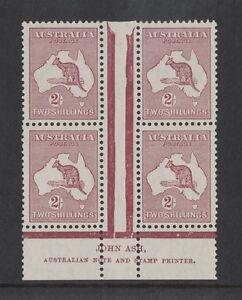 1935-Australia-Roo-2-maroon-SG-134-imprint-block-four-2-2-muh-mlh-fresh