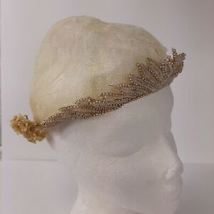 VTG-Bridal-Cap-Beaded-Headpiece-Wax-Flowers-2-Layer-Netting-Floral-Lace-Juliet