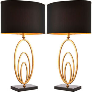 2 Pack Modern Table Lamp Light Gold Ring Black Marble Square Base Round Shade 5056199816064 Ebay