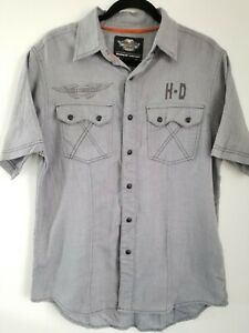 Men-039-s-GENUINE-HARLEY-DAVIDSON-Button-Up-Shirt-Medium-Pearl-Snap-Gray