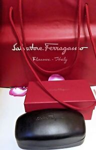 f7a5bde2231d Image is loading SALVATORE-FERRAGAMO-Black-Sunglasses-Clam-Shell-Case-Red-