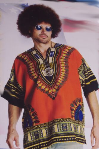 Mens Heroes and Hombre Hippie Hippy Halloween Costume Afro Wig Glasses Lg XL NEW