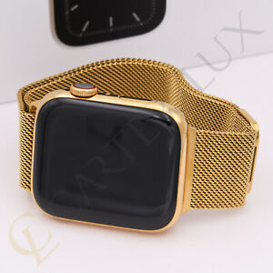 44mm Apple Watch Series 5 Stainless Steel Case Custom 24k Gold Plated Milanese Ebay