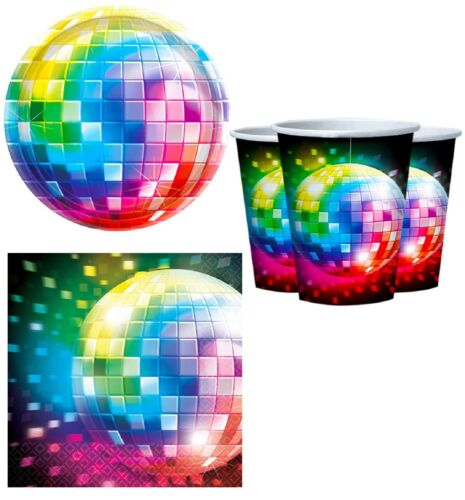 70s Disco Fever Ball 1970s Seventies Disco Ball Rainbow 32pc Party Tableware Set
