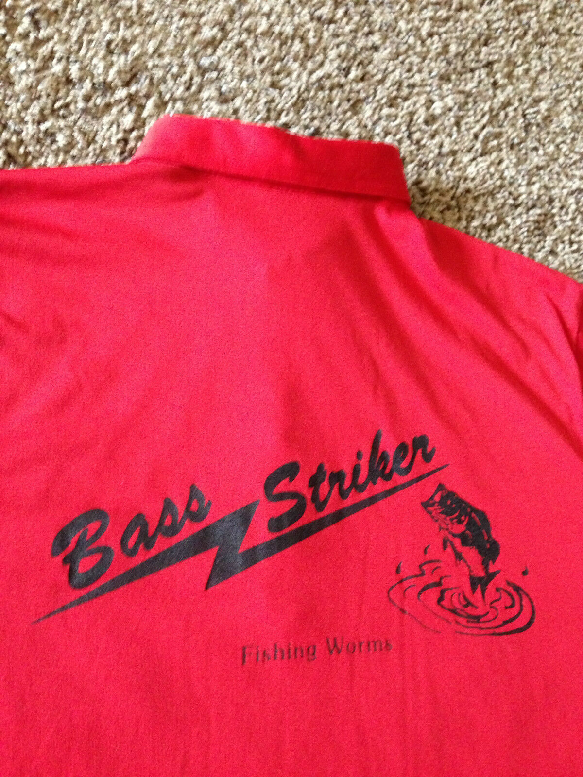VTG 70's 80's Bass Striker  Fishing Worms Shirt Rare Lures Tournament Boat Fish  for cheap