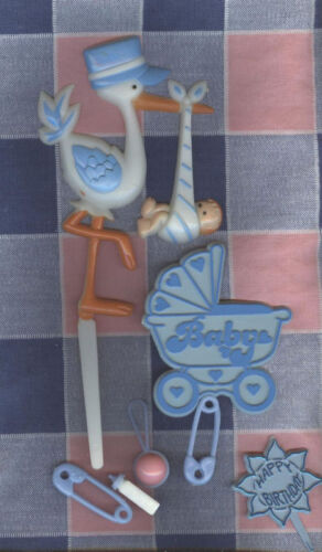 c Old Cake Decorations Baby Shower Birthday Stork Blue
