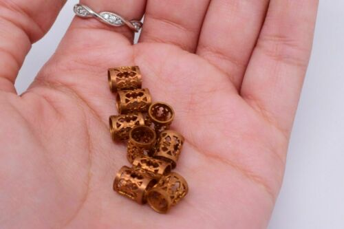 10 Gold Tone Filigree Tube Spacer Beads Jewelry Making 8 x 7 mm Vintage