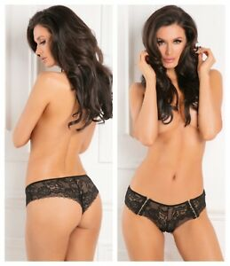 29cc57755ca72 Image is loading RENE-ROFE-HOT-HOOK-CROTCHLESS-BLACK-BOYSHORT-PANTY-