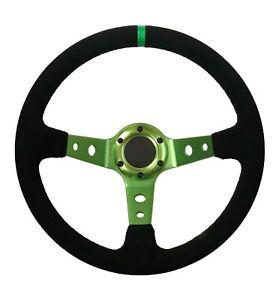 "Steering Wheel 13"" 350mm Deep Dish Drifting Rally Green Spars Black Suede STR"