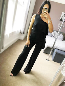 Palazzo-one-shoulder-Frill-Jumpsuit-Black-Womens-Playsuit-Womens-Size-UK