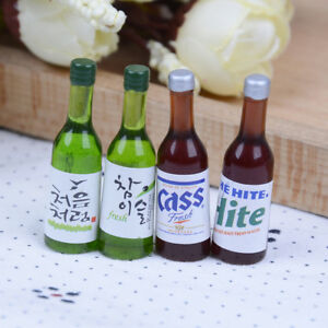 4Pcs 1:12 Dollhouse mini wine bottles miniature drinking doll house SE