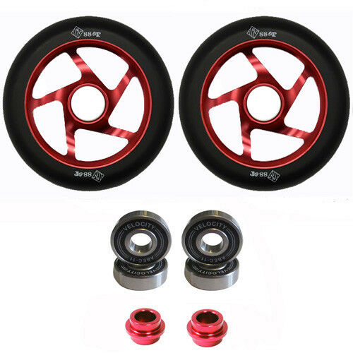 2 x Thunder Pro Stunt Scooter Ruote 110 mm ABEC 11 CUSCINETTI Peg Clamp FORK Deck