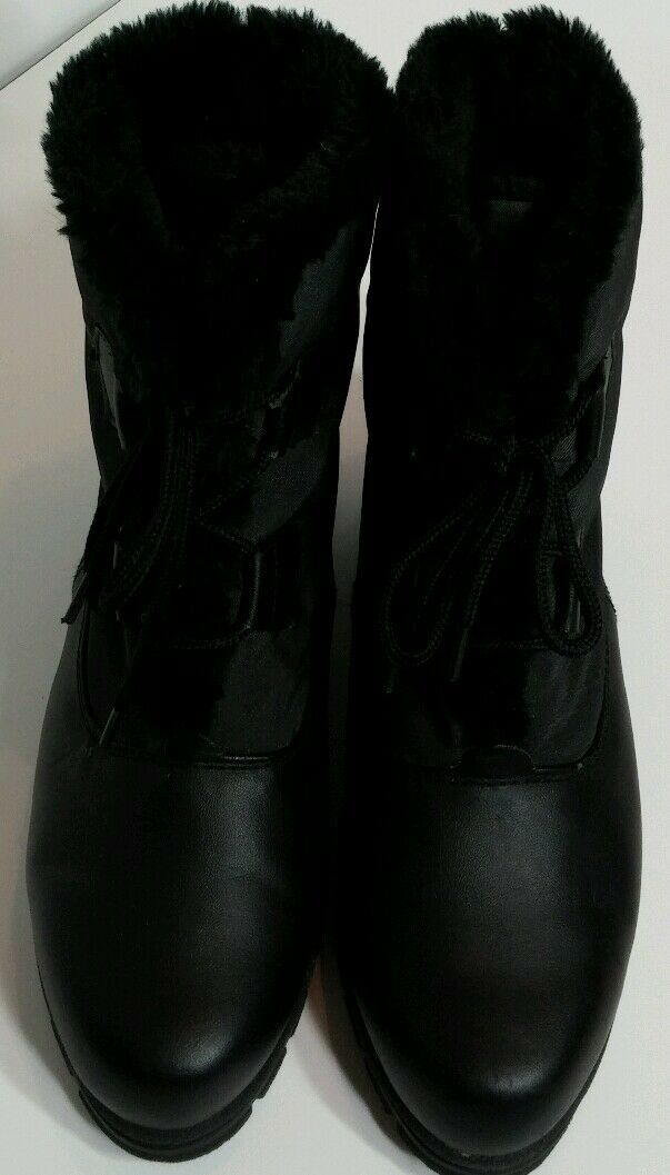 Totes Cathy All Weather Boots Womens Size 7 Black Waterproof Faux Fur Lined EUC