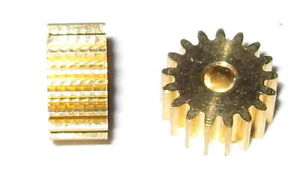 2-X-Brass-17-Tooth-Gear-for-2-0-mm-Shafts-17T-2-0mm-7-6-mm-OD-Pinion-Gears