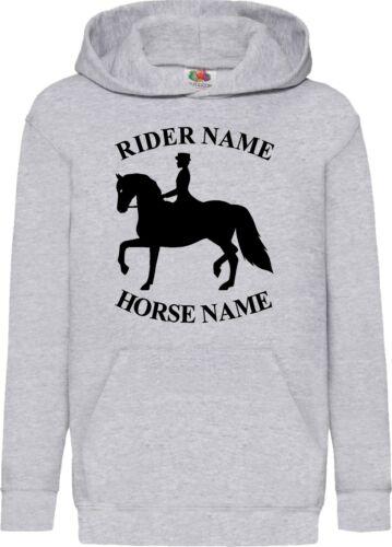 PERSONALISED HORSE PRINTED EQUESTRIAN HOODIE BOYS GIRLS LOVE GIFT JUMPERS TOPS