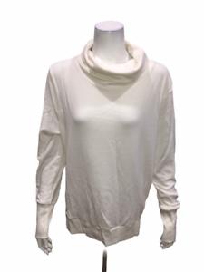 AnyBody Loungewear Plush Terry Cowl-Neck Top Heather Grey L NEW A345169
