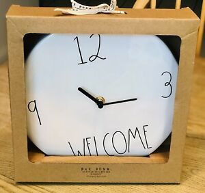 New-RAE-DUNN-Artisan-Collection-LL-034-WELCOME-034-9-034-Ceramic-Wall-Clock-By-Magenta