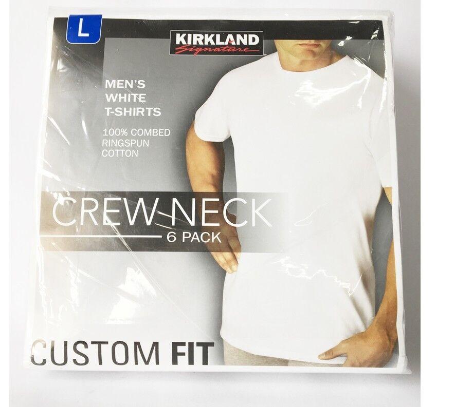 6 Packs KIRKLAND SIGNATURE Herren Rundhalsausschnitt Weißes T-Shirts 4 Größen