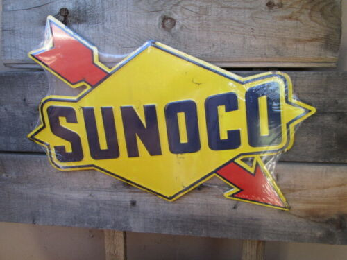 SUNOCO Large 18 by 13.5 Gasoline Racing  Motor oil raised embossed metal Sign co