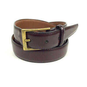 Brighton-Mens-Dress-Belt-Size-52-Brown-Glazed-Cowhide-Leather-Brass-Buckle