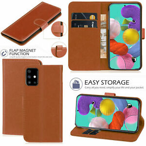 Wallet-Case-For-Samsung-Galaxy-A11-A51-A71-A21-Genuine-Leather-Flip-Cover-Brown