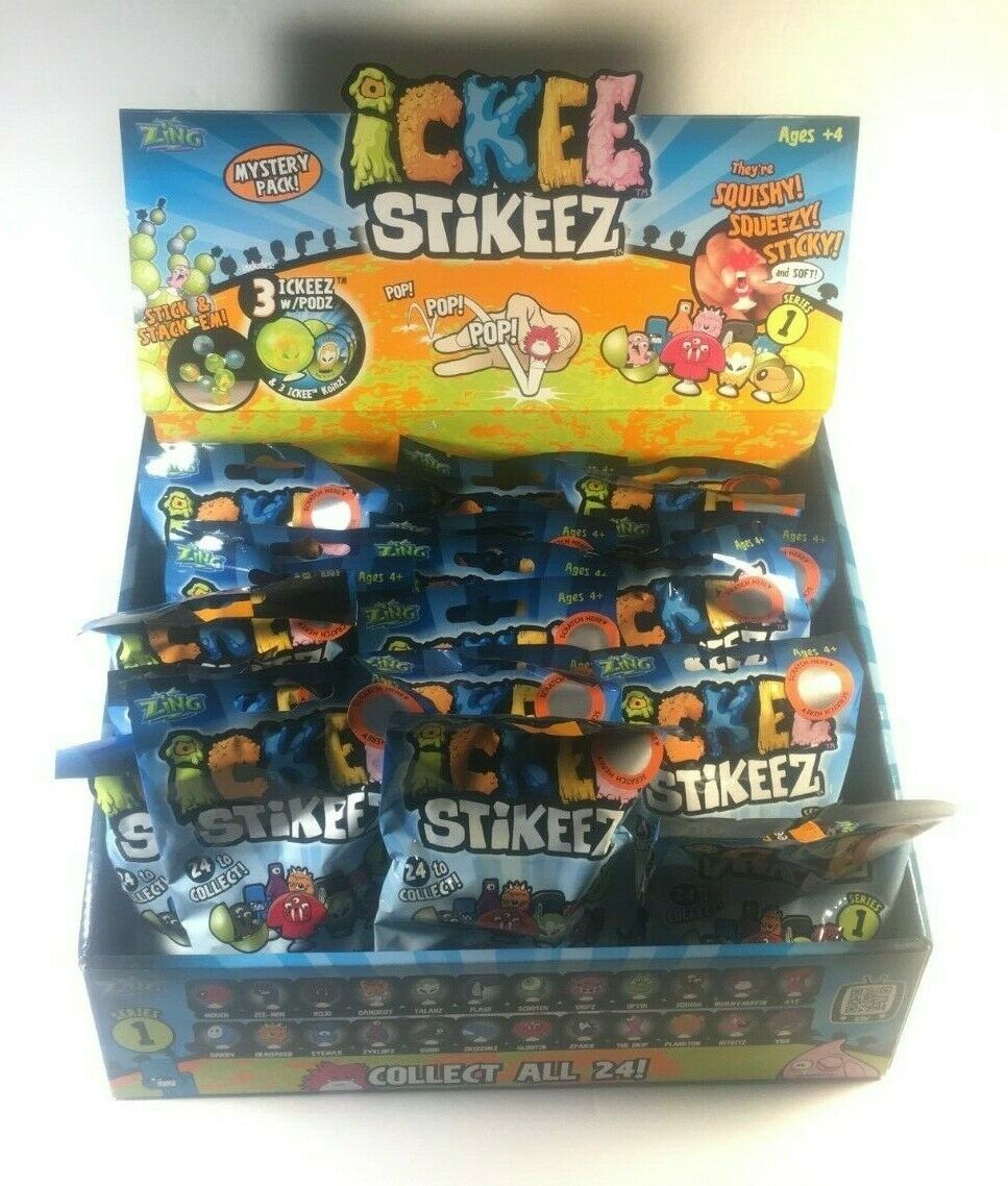 Ickee Stickeez 25 Packs (25 Packs of Ickee Stickeez 3 Pack Foil Bags) with box